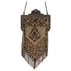 Antique Mandalian Mfg Co Mesh Enameled Art Nouveau Flapper Purse Bag