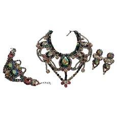 Vintage Czech Haute couture  Glass Necklace Bracelet and earrings  Signed *BIJOUX M.G