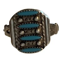 Vintage Old Pawn Native American Indian sterling silver & turquoise RING