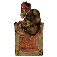 Antique circa  1900 Tin LITHOGRAPHED Monkey Toy DRGM Depose