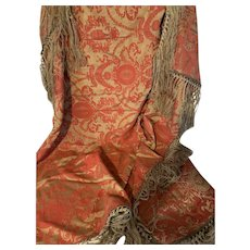"Antique Italian Tapestry throw w/ long fringe 56"""