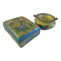 Antique Chinese Cloisonne 1910 Cigarette Box and Ash tray