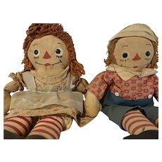 Vintage Raggedy Ann and Andy 1940s Johnny Gruelle Georgene Novelties inc