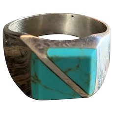 Mens Vintage Sterling Silver Turquoise Inlay signed