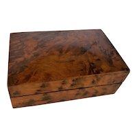 French 19c Antique Burl wood lidded cigarette Tobacco Box