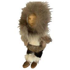 Vintage Hand Made Alaska Inuit Doll hand carved Real fur