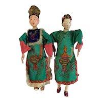 Antique Chinese Opera Dolls Wedding Couple 1800s Museum quality