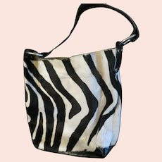 Maurizio Taiuti Real Pony Hair Zebra Striped Purse Handbag Made in Italy