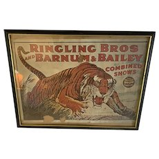 Antique Art Ringling Brothers and Barnum & Bailey Tiger orig Poster