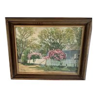"""M. Phizacklea 1970s art Vintage oil painting 1978 """" White Picket Fence"""""""