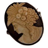Antique GEORGIAN GLASS Cameo pin/brooch- Rare head piece (Circa 1714 - 1830)