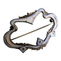 Antique Large Art Nouveau Sterling Silver Guilloche Enamel Brooch