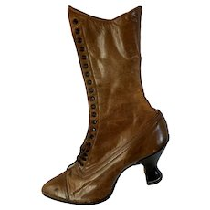 Pr.of Antique Victorian Boots, High Top Shoes, Edwardian, Spool Heel,  1800s, Vintage Boots,