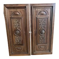 Antique Carved Walnut Victorian Door Panels