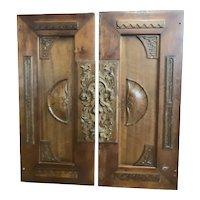 Two Antique Victorian walnut Door Panels