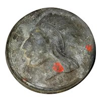 """Antique 1868 United States Of America Native American Indian Lucky Token 3"""""""