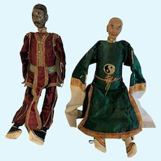 """Antique Chinese 17"""" 20c wood Dolls  pr. of characters"""