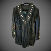 South West Pioneer Wear Womens black fringed Indian Leather Jacket sz12