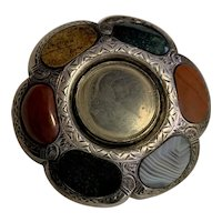 Victorian mourning hair Sterling Silver Scottish Agate Pendant Brooch Pin Estate Fine Jewelry