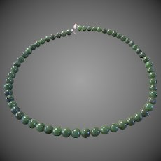 Womens Vintage Jade Bead Necklace