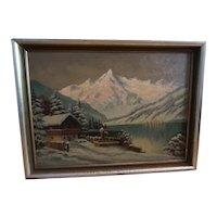 Vintage Original oil painting winter Landscape signed A.Reni
