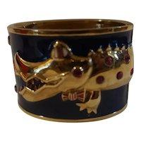 Original large Betsey Johnson enamel Gator cuff bracelet