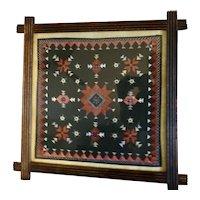 Antique Americana Silk Victorian Needle Point Textile original Framed