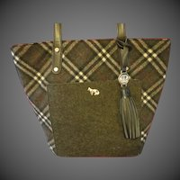 Emma Fox Plaid hand bag purse Gray