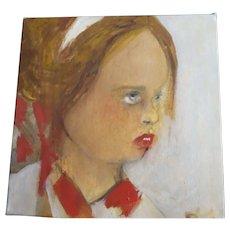 Original Art work Painting by Monique Bavaud  Oil on canvas child Portrait