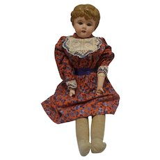 """Antique tin head """"Minerva"""" doll 20 inches leather articulated body"""