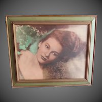 Vintage Mid century Pin up Glamour Model Print 21x25""