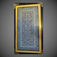 """Antique Chinese silk panel Gold Thread Fu Dogs late 1800s 27"""""""