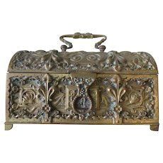 1900s Antique Art Nouveau Bronze Domed Jewelry Box signed Germany