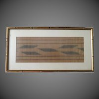 Vintage African hand made textile fabric framed