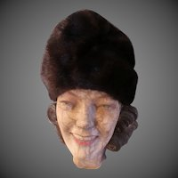 1960s Fashion Vintage Hat Brown Mink perfect