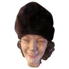 1960s Fashion Vintage Hat Brown Mink perfect
