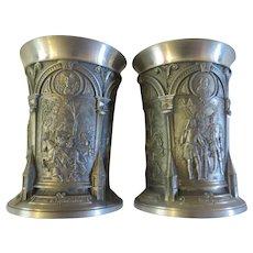 Vintage pair of Pewter cups shot glasses Albrecht Durer Zinn Galerie