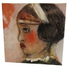 Original Art work Painting by Monique Bavaud  Oil on canvas child Portrait ~ Cherry