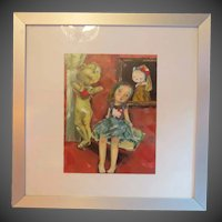 Beautiful original oil painting  on linen girl with Hello Kitty  ~ Framed