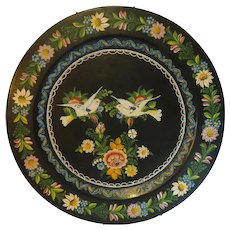 Vintage Folk hand painted Charger Plate with Doves & Roses