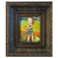 Original oil Painting girl Dancing in field of Flowers framed