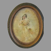 Original 1900s water color art nouveau Painting of girl with cherub framed