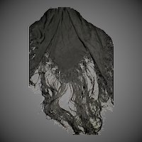 """Antique Black Silk Victorian Mourning Piano Shawl Magnificent large 64"""""""
