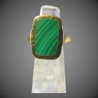Designer MARRACCINI Artist signed Natural MALACHITE 14k Yellow Gold RING