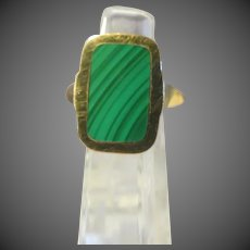 Designer MARRACCINI Artist signed Natural MALACHITE 14k Yellow Gold RING
