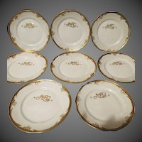 Early 1900s Antique P Mavaleix - Limoges France china eight lunch plates with the BM de M marking