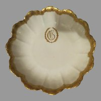 Antique Limoges white w/ encrusted Gold scalloped edge Serving Bowl