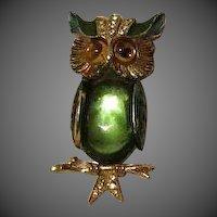 Vintage Owl Brooch Green Glass Belly Signed Art