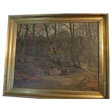 Original Oil Paintng LUDVIG HOLM (Frants Henry Ludvig Holm) (Listed Denmark  Park Scene with Monument, 1925 signed