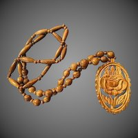 Hand carved Vintage wood Bead Necklace Pendant